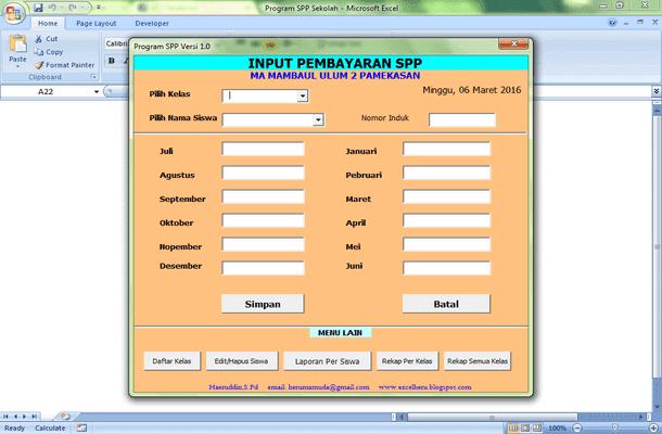 Aplikasi SPP Format Microsoft Excel