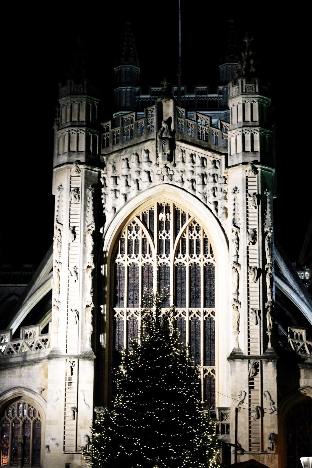 Bath Abbey architecture by night at Christmas