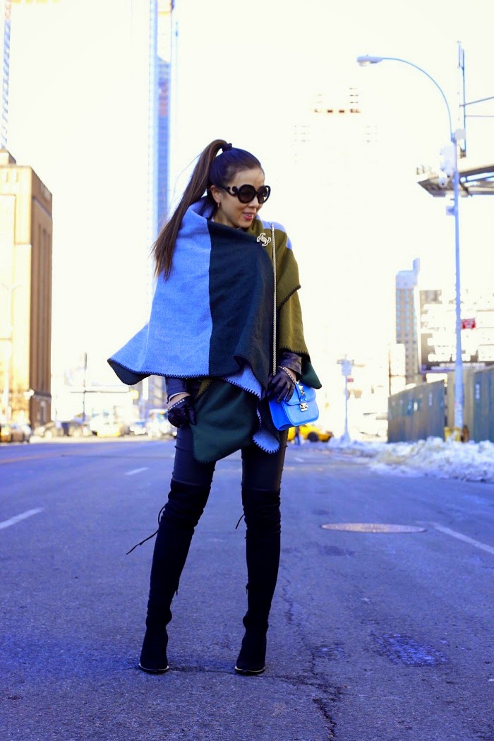 Asos color block oversized scarf, Joes jeans, peace love shea steve madden toclean boots, free people over the knee boots, Valentino lock bag, prada sunglasses, kendra scott my avant garden earrings, asos gloves, chanel brooch, classy, new york city, fashion blog, winter street style, how to wear oversized scarf, multiple ways to wear oversized scarf