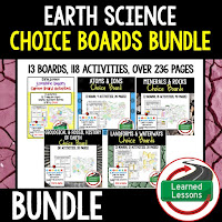 Earth Science Choice Boards, Earth Science Google Classroom, Digital Interactive Notebooks