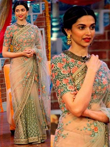 Floral Net Half N Half Saree
