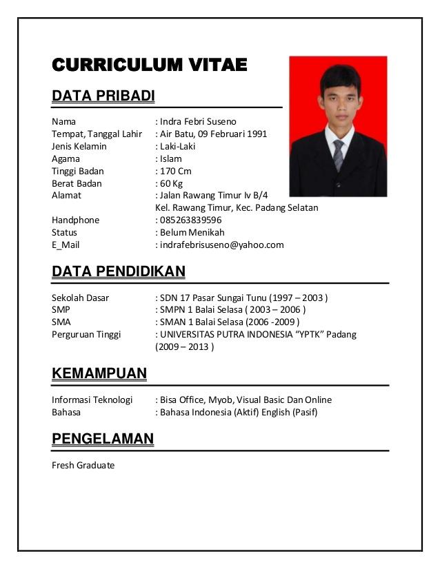 Contoh Curriculum Vitae Bahasa Indonesia Pdf Cv Nabila