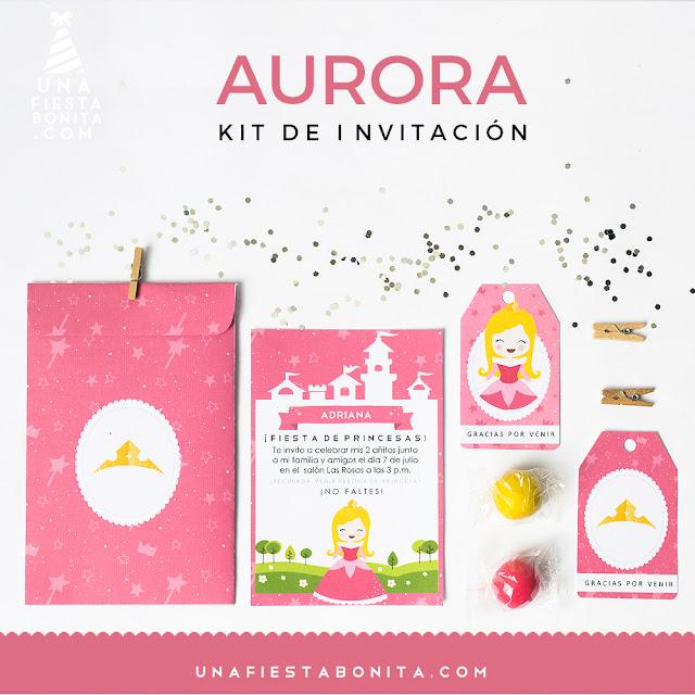 invitacion, sobre, etiquetas princesa Aurora imprimible