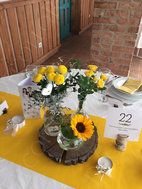 Rosinante esküvői dekoráció, asztaldísz
