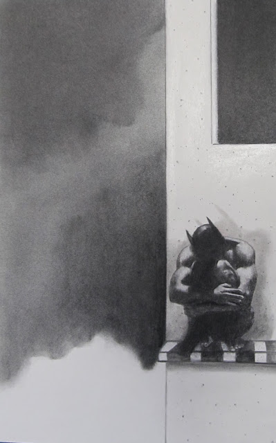 The Batman Agonizing Over Robin - 2013 Charcoal on Paper by F. Lennox Campello