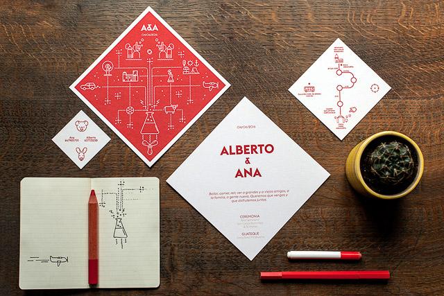 invitaciones boda originales invita con rombo infografias originales unicas personalizadas modernas