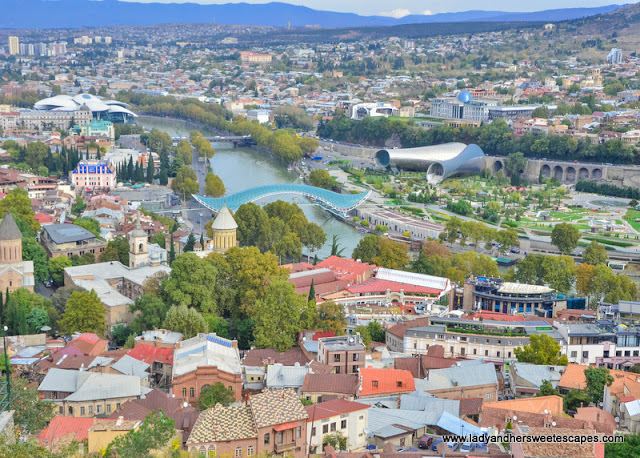 Aerial view of Tbilisi from the fortress