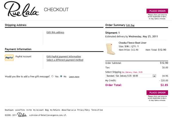 How To Use Your $20 Credit at Rue La La & 20% off Coupon at Gilt
