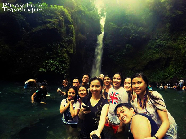 Group selfie with the Mother Falls