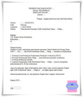 format surat permohonan pencairan dana alokasi khusus pendidikan untuk rehab ruang kelas