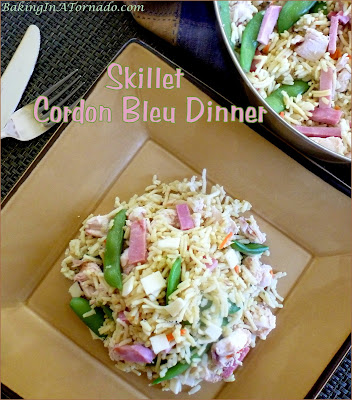 Skillet Cordon Bleu Dinner: simplify your life by making a hearty, flavorful dinner in one skillet repurposing leftovers. | Recipe developed by www.BakingInATornado.com | #recipe #dinner