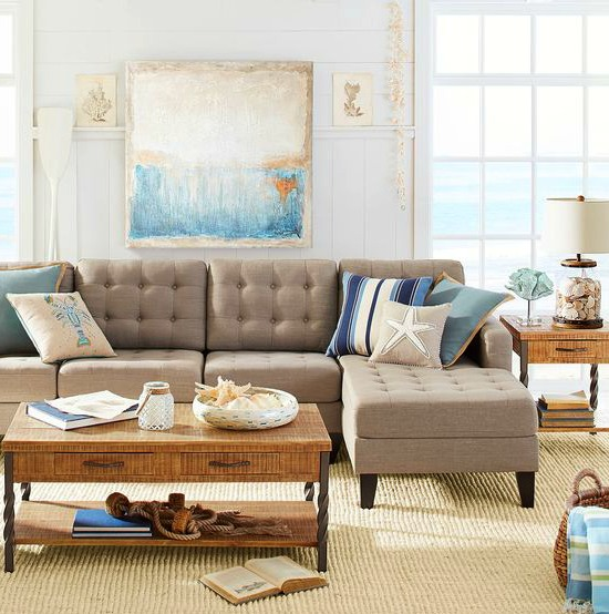 Neutral Beige Beach Living Room with Sectional