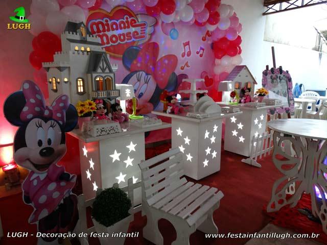 Decoração de festa de aniversário Minnie Rosa - Mesa decorativa