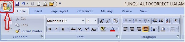Office button untuk setting fungsi autocorrect Ms. Word