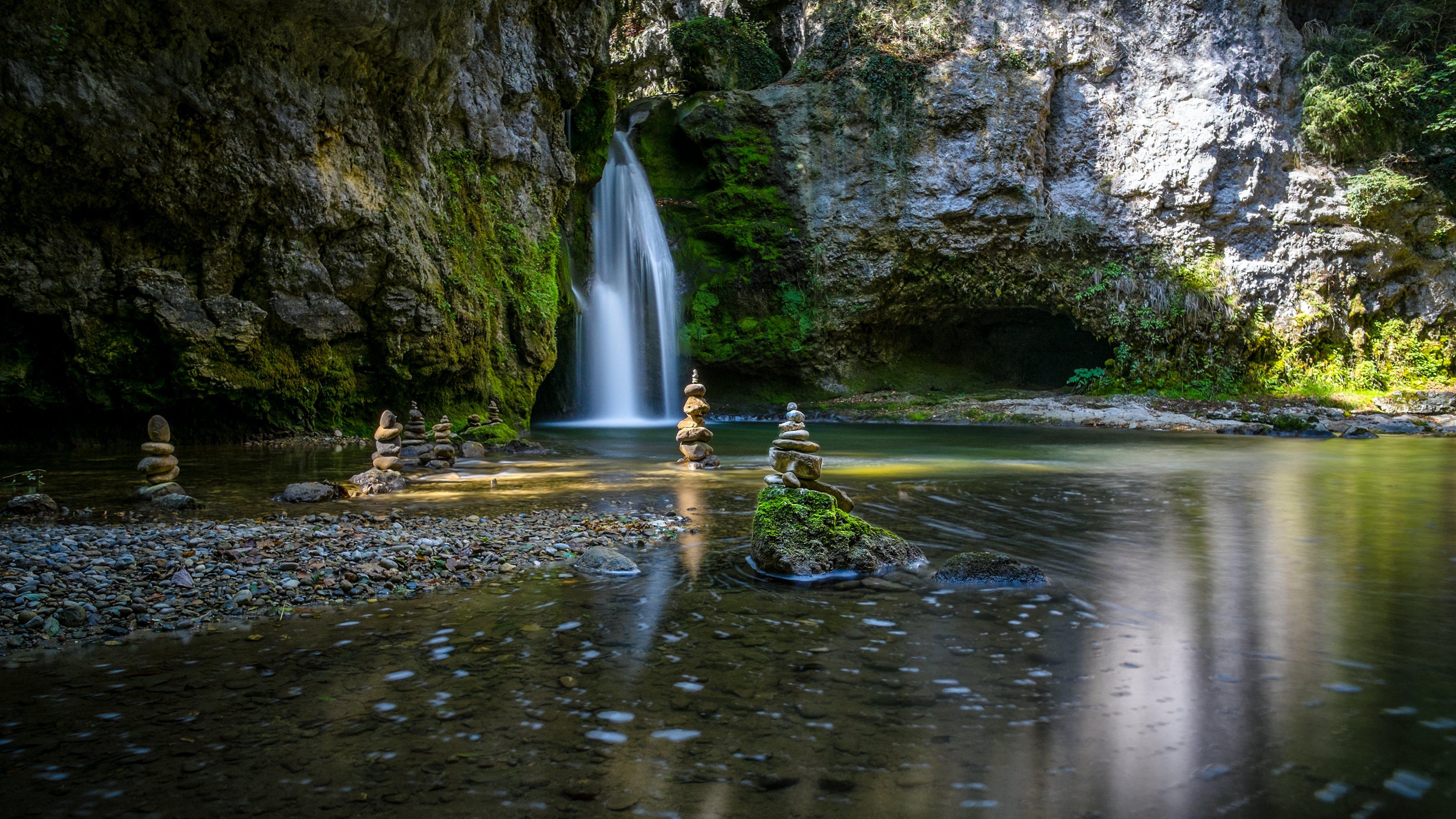 zen garden waterfalls hd wallpapers 4k