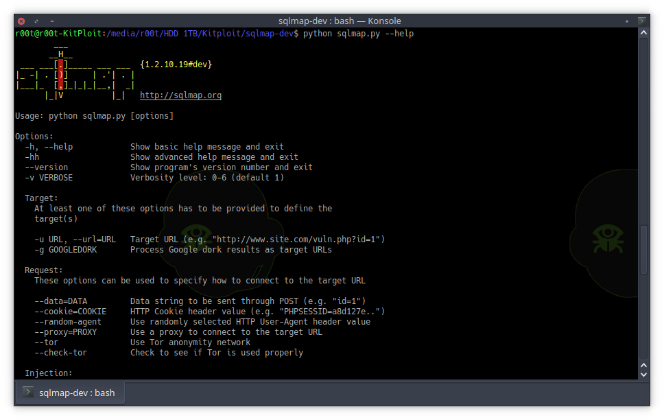 SQLMap v1.2.10 - Automatic SQL Injection And Database Takeover Tool