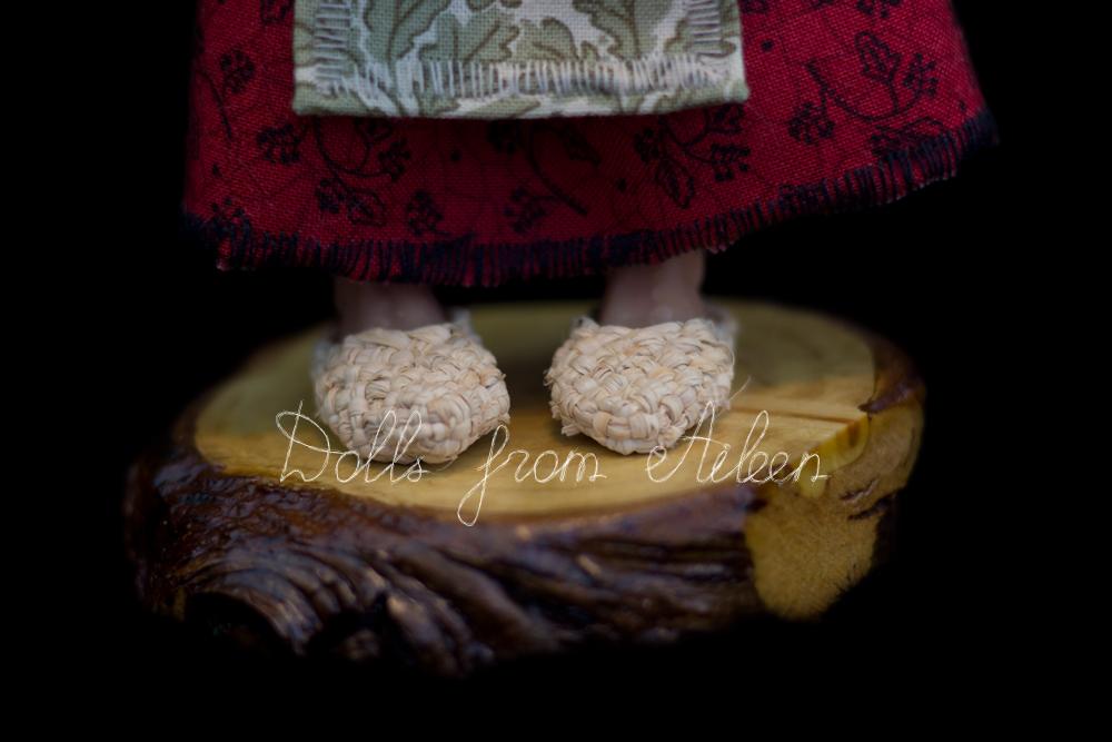 ooak miniature 'Baba Yaga' witch art doll's feet wearing 'lapti'