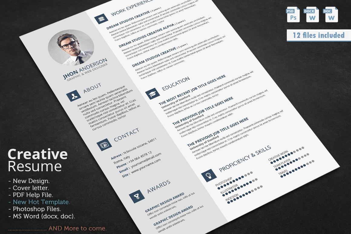 creative resume    cv template with cover letter and portfolio