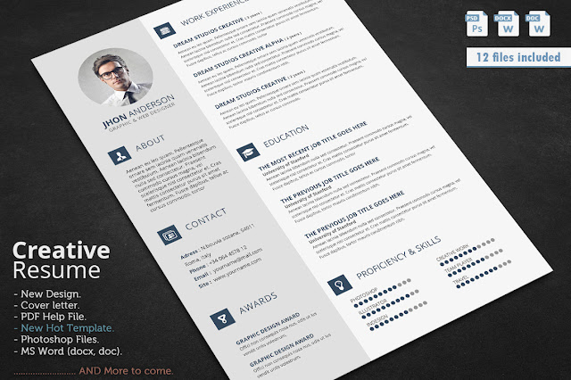 free template cv adobe photoshop