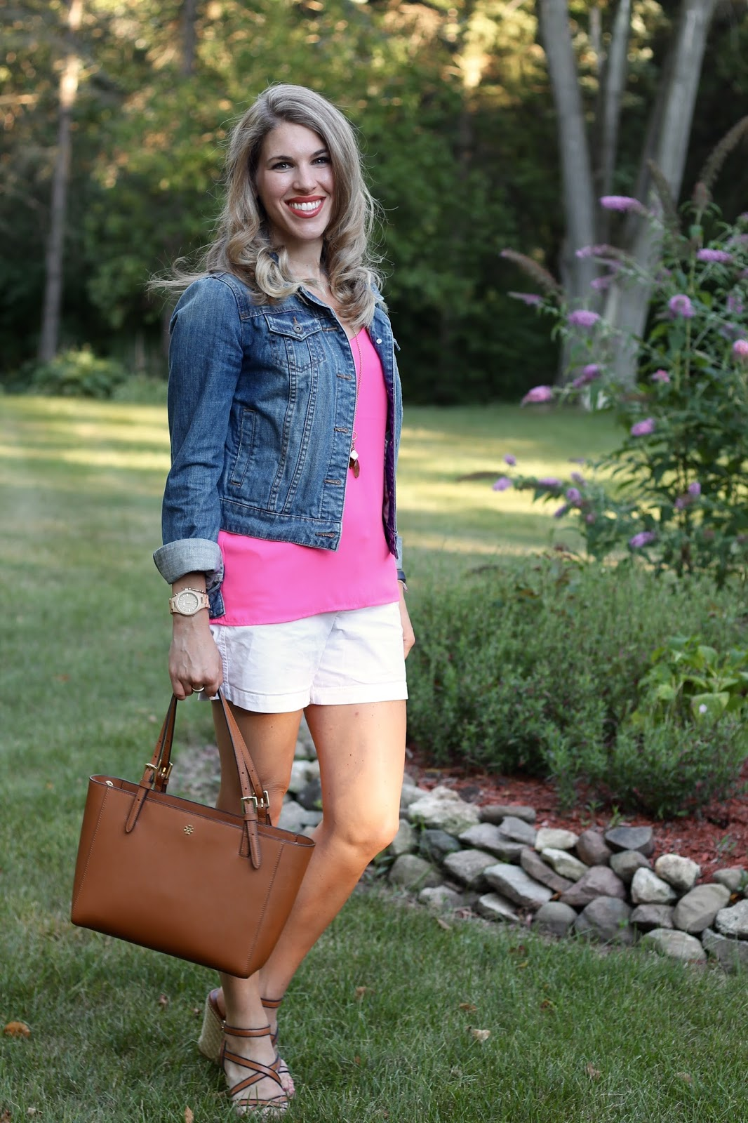 pink Barcelona cami, white shorts, denim jacket, wedges, Tory Burch tote, casual summer outfit