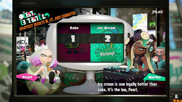 Splatoon 2 Ice Cream Cake Splatfest results Marina Ice cream is now legally better than cake. It's the law, Pearl