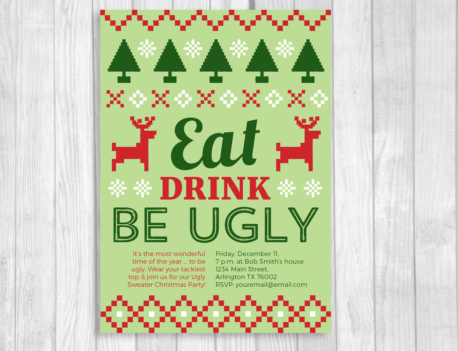 Weddings By Susan Ugly Christmas Sweater Party Printable Invitation