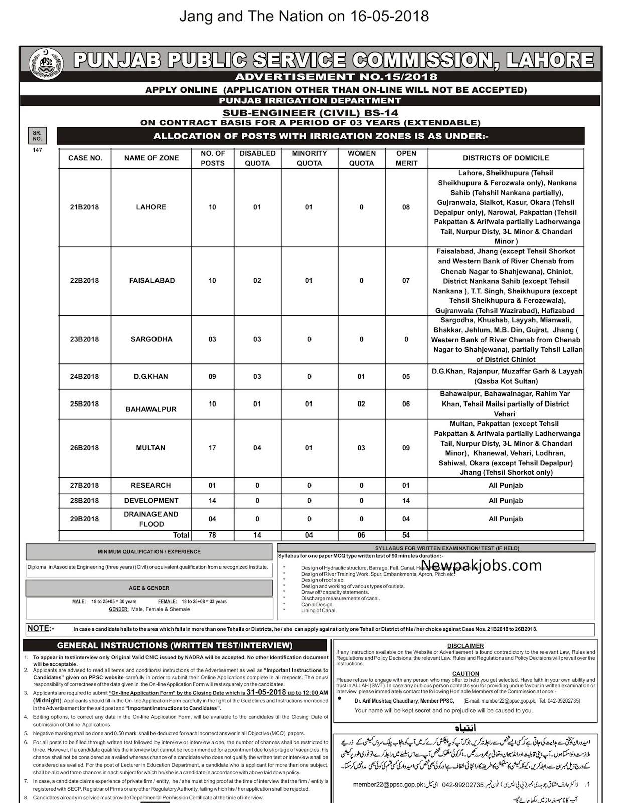 sub-engineer-ppsc-may-2018-jobs-punjab