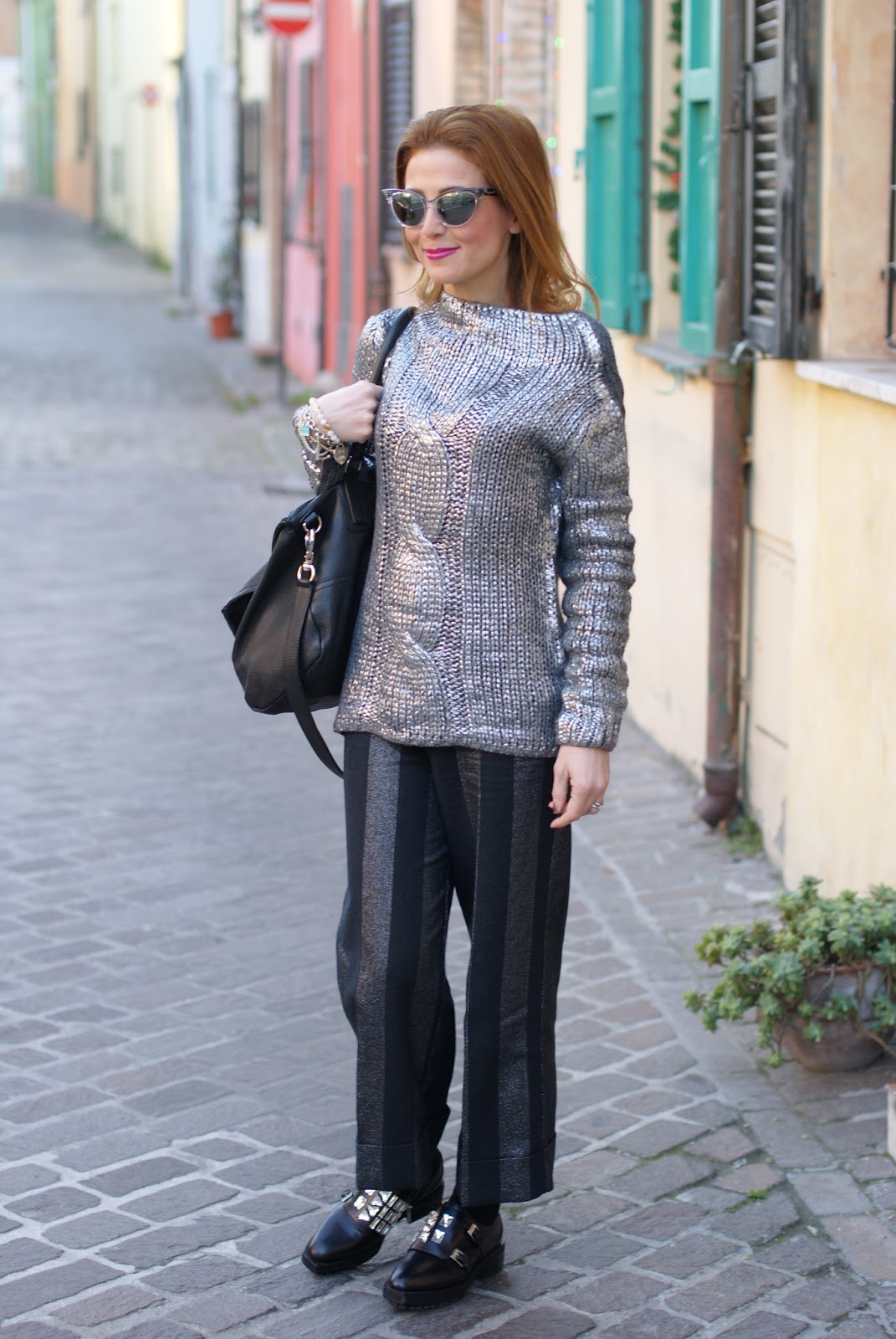 striped silver culottes and sweater with Le Silla shoes on Fashion and Cookies fashion blog, fashion blogger style