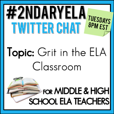 Join secondary English Language Arts teachers Tuesday evenings at 8 pm EST on Twitter. This week's chat will be about a grit in the ELA classroom.