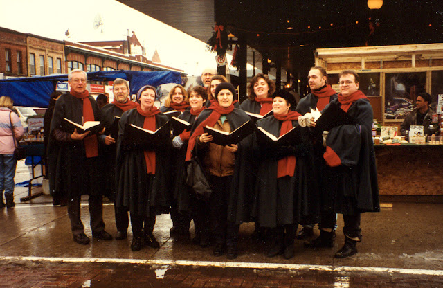 Caroling in capes in the Byward Market, 1997
