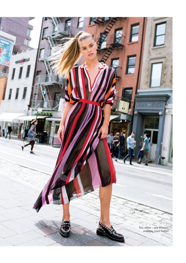 Nina Agdal is glamorous chic for Elle magazine