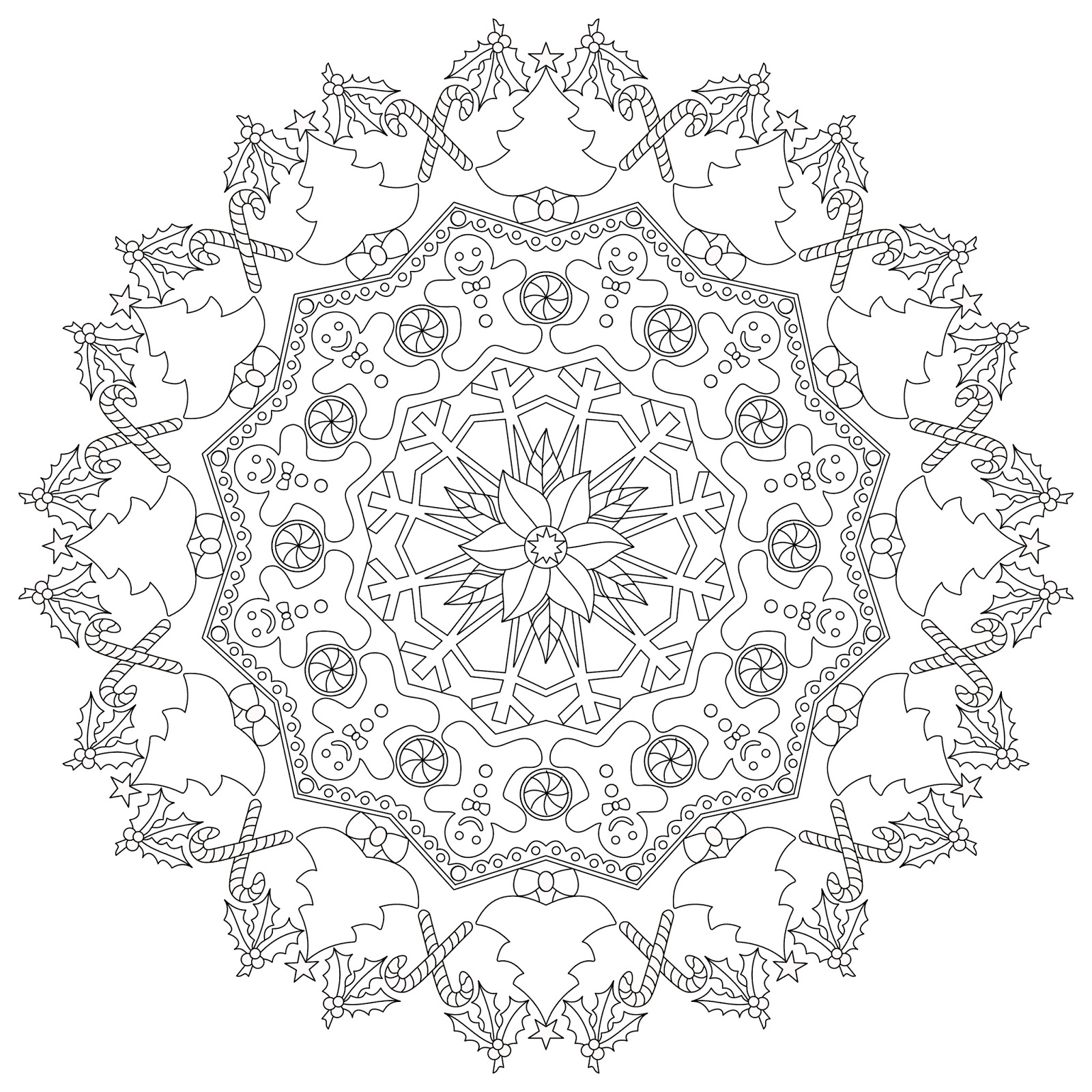 part time creative free christmas mandala colouring page
