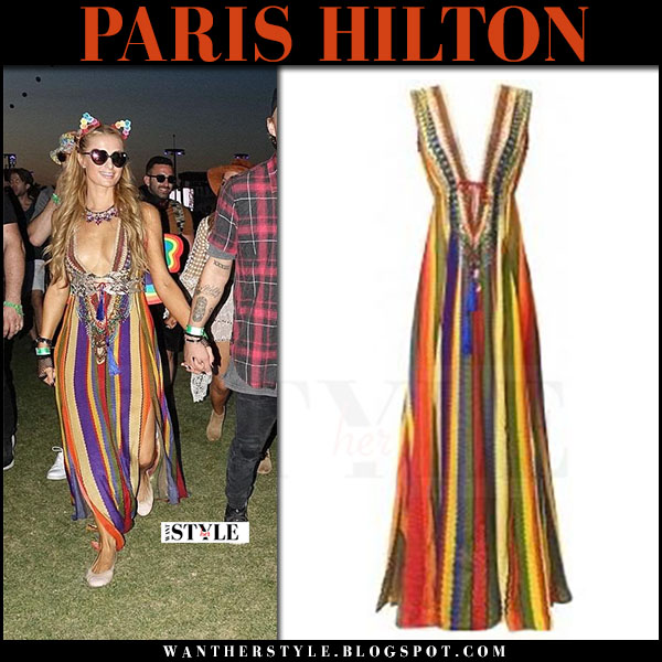 Paris Hilton in striped maxi dress and ballet flats what she wore april 2017 coachella fashion