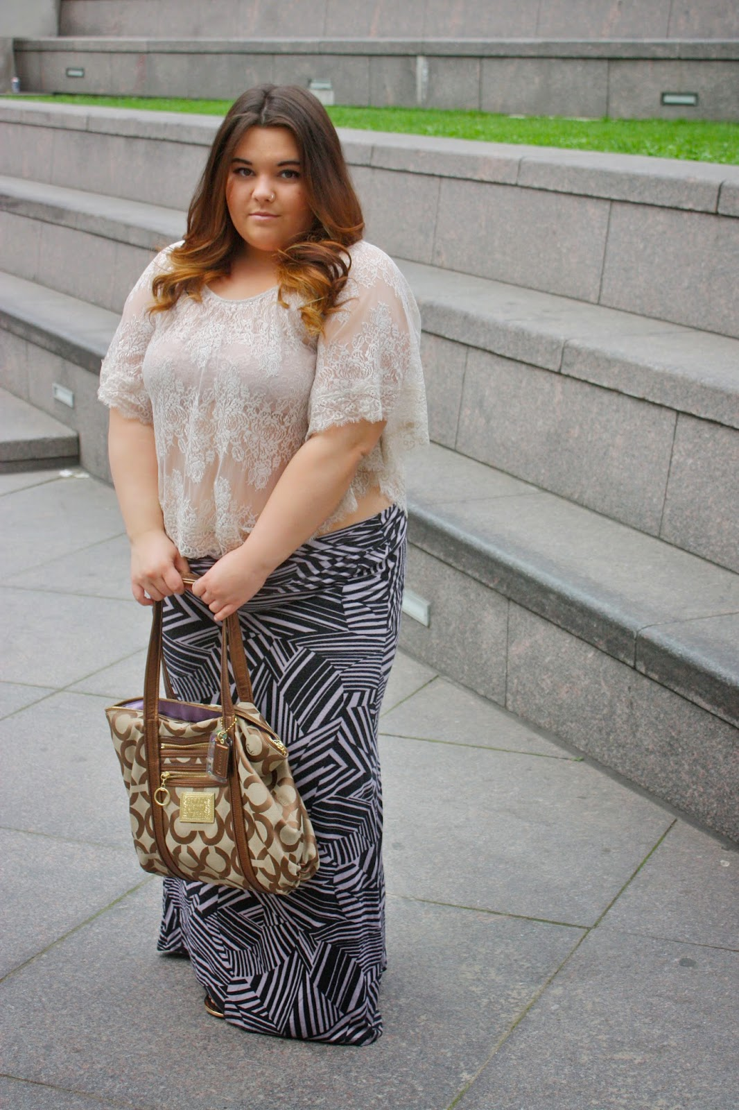 Natalie Craig, maxi skirt, plus size fashion blogger, plus size fashion, see through, bandeau, lace, urban outfitters, summer fashion, coach purse, target sandals, ombre, curly hair, chicago, natalie in the city, chicago river, columbia college chicago, ootd, style, fat girls, curvy fashion