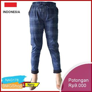 NAG178 Celana Panjang Kotak Kombinasi Tifana Wanita Pants Murah Bmgshop