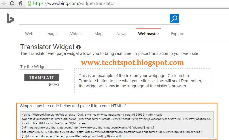 How to Add Bing Translator Widget to Blogger with Pictures