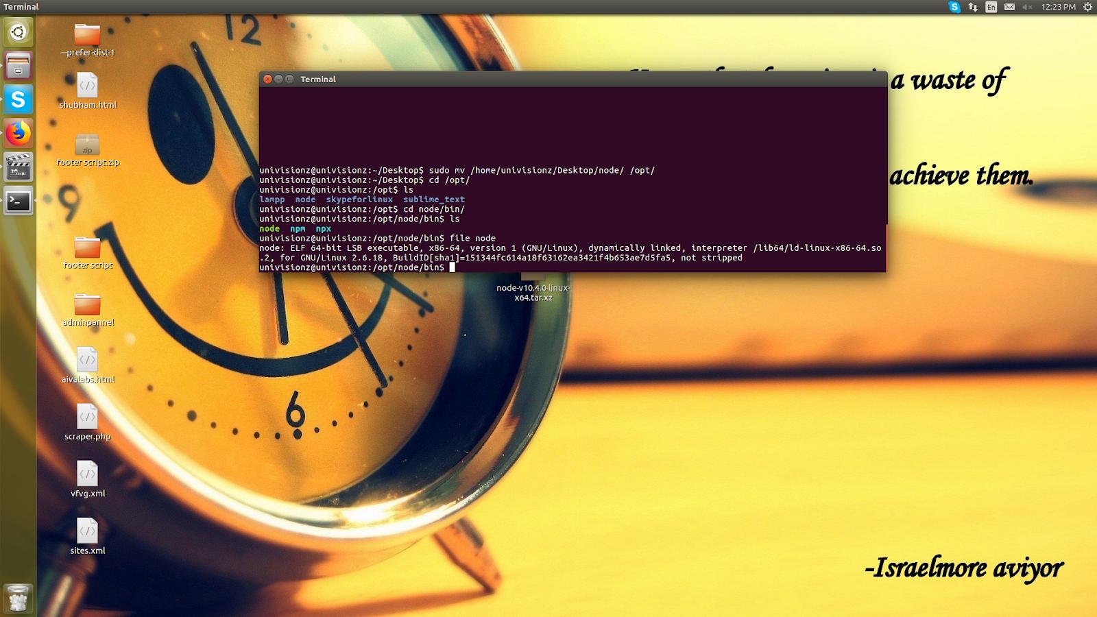 install nodejs linux tar.xz