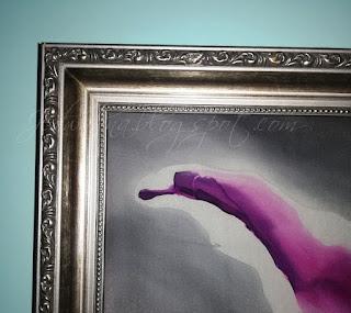 rama obrazu, jedwab malowany, rama kolor srebrny