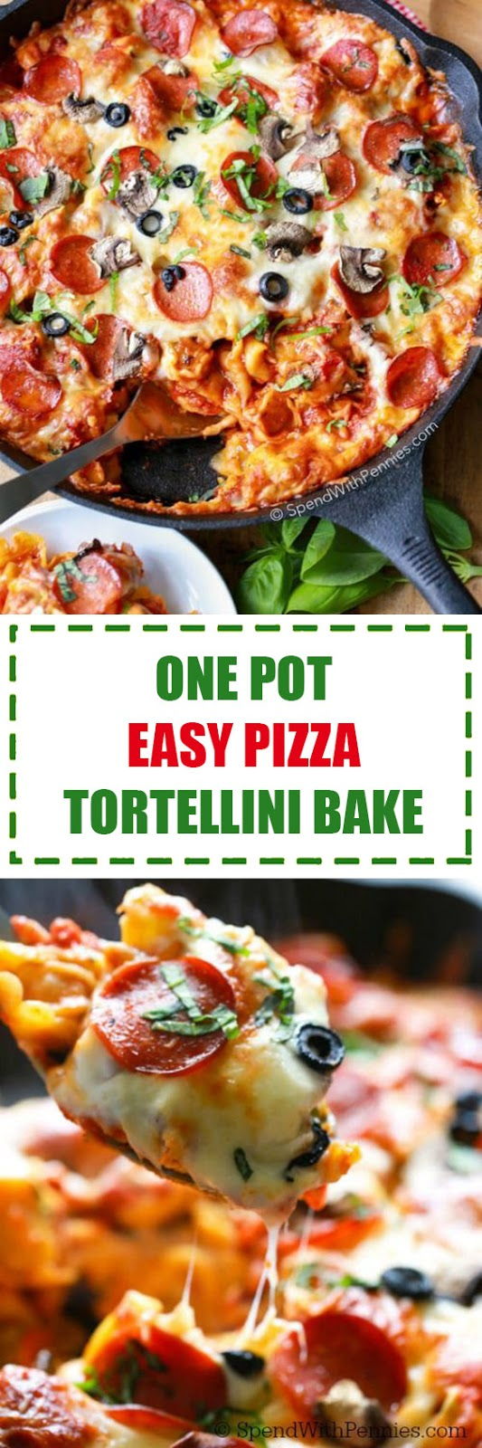 One Pot Easy Pizza Tortellini Bake