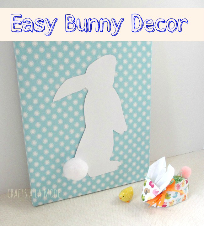 cute paper bunny canvas decor