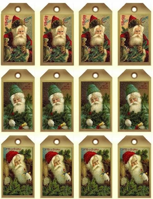 Free Printable Vintage Santa Claus Tags and Labels Oh My Fiesta