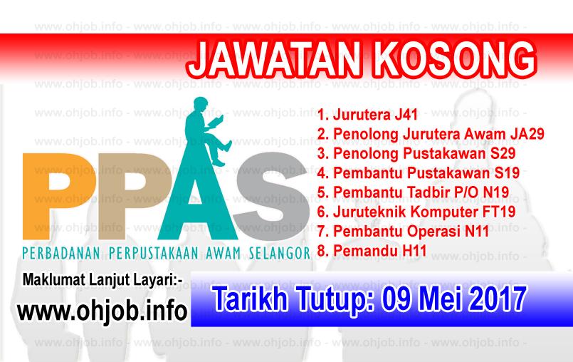 Jawatan Kerja Kosong PPAS - Perbadanan Perpustakaan Awam Selangor logo www.ohjob.info mei 2017