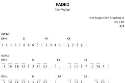 Not Angka Lagu Faded Alan Walker Pianika Recorder Keyboard Suling