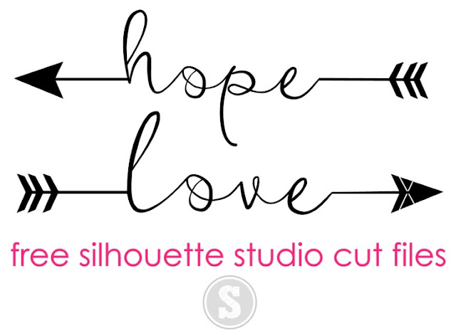 Silhouette Studio, free cut files, cut files, hope and love arrows, arrows