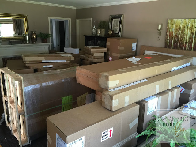 Living Room full of cabinets in boxes :: OrganizingMadeFun.com