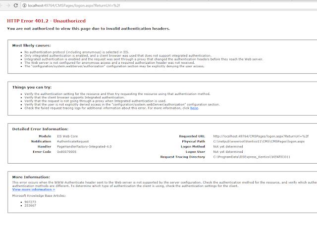 error 401.2 - unauthorized
