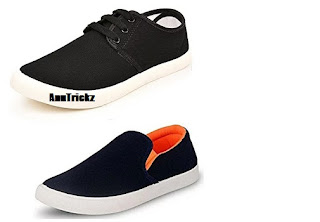 Amazon - Jabra Men's Black Casual Shoes and Blue Sneakers (Combo of 2) at Just Rs.299 Only