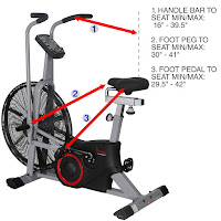 Sunny Health & Fitness SF-B2706 Tornado Air Bike's 4-way adjustable saddle for a custom fit, dimensions to handlebars & pedals