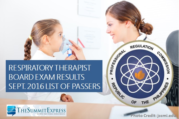 September 2016 Respiratory Therapist board exam results