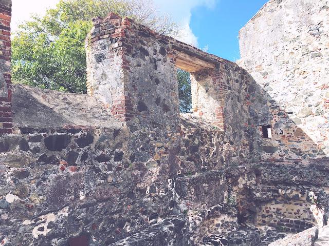 Annaberg Sugar Mill ruins on Annaberg Historic Trail in St. John, Caribbean